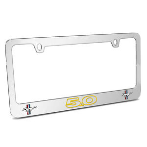 Ford Mustang Gt 5 0 Outline In Yellow Dual Logo Chrome Metal License Plate Frame