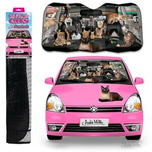 Car Full Of Cats Auto Sun Shade Size 50 X 27 1 2 Protects Cools