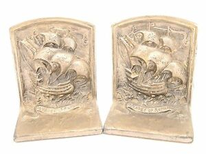 Vtg Antique Rare Studios Of The Quakers Voyages Of Romance Tall Ship Bookends