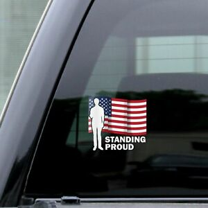 Usa Flag Figure Standing Proud Wavy Decal Vinyl Sticker Color Car Rear Window 5