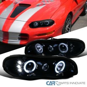 For Chevy 98 02 Camaro Led Halo Glossy Black Projector Headlights Smoke Lamps