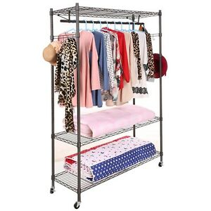 3 tier Rolling Garment Cloth Storage Rack Clothing Coat Shelf Organizer Eh7e