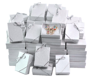 Lot Of 100 White Cotton Filled Box Jewelry Gift Boxes Bracelet Box 3 1 4x 2 1 4