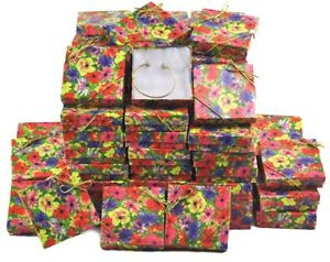 100pc Gift Boxes Floral Print Gift Boxes Cotton Filled Jewelry Boxes free Bows