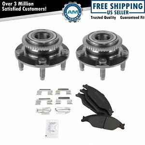 Front Wheel Hub Bearing Pair With Semi Metallic Brake Pad Kit For Ford Mustang