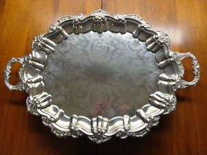 International Silver Silverplate Footed Butler Waiter Serving Party Holiday Tray