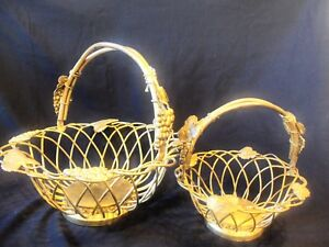 Set Of 2 Godinger Silver Plate Wire Baskets With Grapes And Leaves