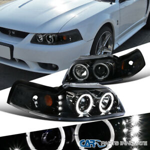 Ford 99 04 Mustang Pearl Black Dual Halo Led Clear Projector Headlights Lamps