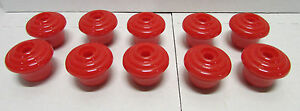 Mid Century Modern Lot Of 10 Candy Apple Red 1950 S Kitchen Or Dresser Knobs Nos