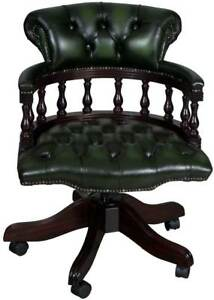 New Antique Style Green Leather Captains Office Desk Arm Chair Adjustable Tilt