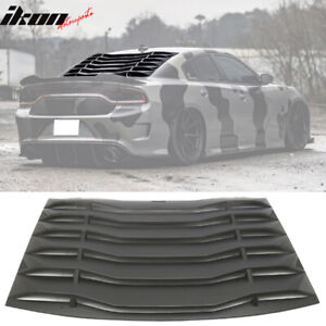 15 18 Dodge Charger Ikon Style Rear Window Louver Cover Vent Unpainted Black Abs