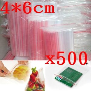 500pcs 4x6cm Small Clear Poly Bag Reclosable Plastic Jewelry Baggies