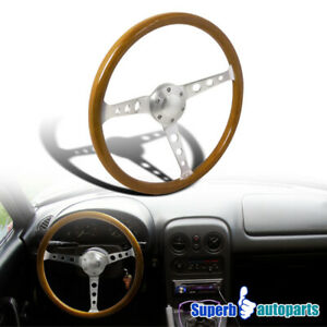 370mm 14 75 Aluminum Spokes 2 Deep Wooden Vintage Style Steering Wheel