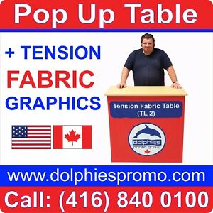 Trade Show Portable Pop Up Table Counter Portable Kiosk Display Fabric Print