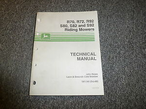 John Deere R70 R72 R92 Riding Mower Technical Repair Shop Service Manual Tm1290