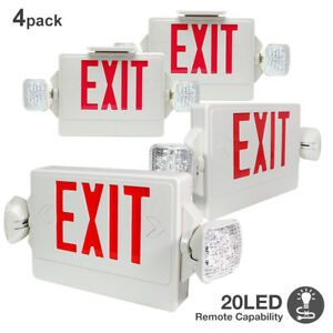 4 pack led Red Exit Sign Emergency Dual Swivel Light Compact Combo Fire Safety