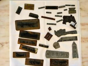 Mixed Lot Of 32 Vintage Printing Block Die Press Plates Signatures Hardware
