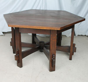 Anatique Mission Oak Hexagonal Library Table L Jg Stickley Arts Crafts