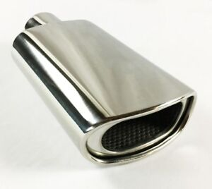 Exhaust Tip 2 25 Inlet 5 50 X 3 00 High 12 00 Lg Double Wall Rolled Oval Reso