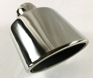 Exhaust Tip 5 00 X 3 00 Outlet 7 50 Long 2 25 Inlet Rolled Oval Angle Polishe