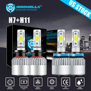 4pcs H7 h11 h9 h8 Led Headlight Bulbs Kit Car High Low Beam Cree Cob 6500k White