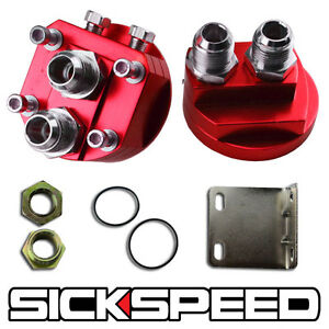 Red Aluminum Oil Filter Relocation Male Fitting Adapter Kit 3 4x16 20x1 5