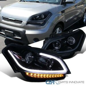 For 10 11 Kia Soul Glossy Black Projector Headlights Headlamps Led Signal