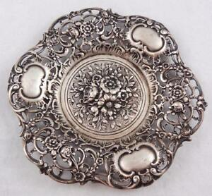 Vintage German 800 Silver Flower Repousse Dish 5 Inches 1472