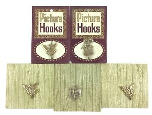 Lot Of 5 Vintage New Old Stock Carded Picture Hooks Metal American Eagle Design