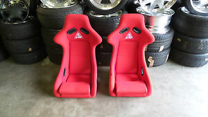 J up Fixed Bucket Seat Pair Red Side Mount Fixed Back S13 S14 240sx Bride Recaro