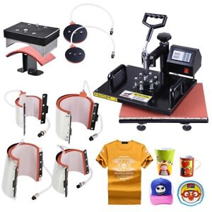 8in1 Heat Press Machine Digital Transfer Sublimation T shirt Mug Plate Cap Print