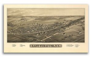 1885 East Syracuse New York Vintage Old Panoramic Ny City Map 24x42
