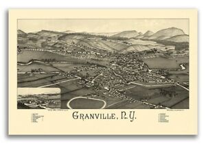 1886 Granville New York Vintage Old Panoramic Ny City Map 24x36