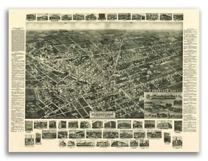 1885 Hicksville New York Vintage Old Panoramic Ny City Map 18x24