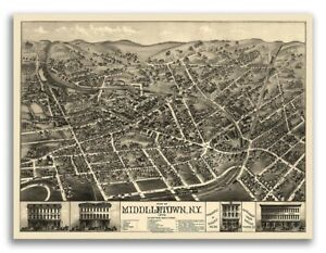 1874 Middletown New York Vintage Old Panoramic Ny City Map 20x28