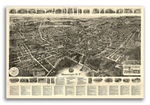 1922 Middletown New York Vintage Old Panoramic Ny City Map 20x30