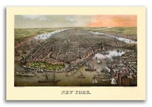 1873 New York City New York Vintage Old Panoramic Ny City Map 16x24