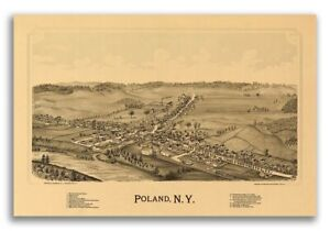 1890 Poland New York Vintage Old Panoramic Ny City Map 24x36