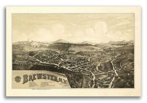 1887 Brewster New York Vintage Old Panoramic Ny City Map 24x36