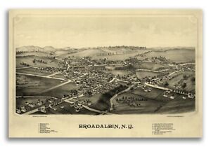 1880 Broadalbin New York Vintage Old Panoramic Ny City Map 16x24