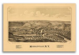 1890 Middleville New York Vintage Old Panoramic Ny City Map 24x36