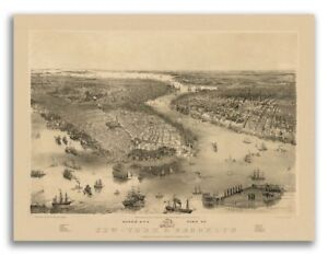 1851 New York City New York Vintage Old Panoramic Ny City Map 18x24