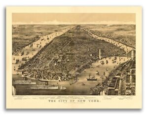 1889 New York City New York Vintage Old Panoramic Ny City Map 18x24