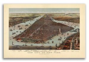 1892 New York City New York Vintage Old Panoramic Ny City Map 20x30