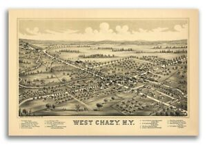 1899 West Chazy New York Vintage Old Panoramic Ny City Map 20x30