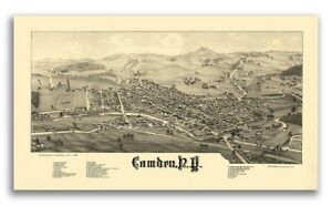 1885 Camden New York Vintage Old Panoramic Ny City Map 24x42