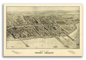 1906 Coney Island New York Vintage Old Panoramic Ny City Map 24x36