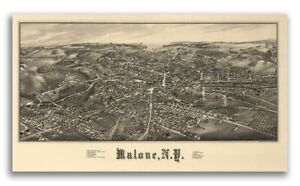 1886 Malone New York Vintage Old Panoramic Ny City Map 24x42