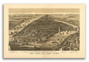 1886 New York City New York Vintage Old Panoramic Ny City Map 24x36