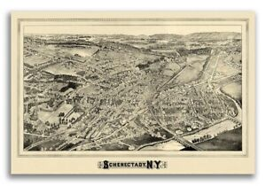 1882 Schenectady New York Vintage Old Panoramic Ny City Map 24x36